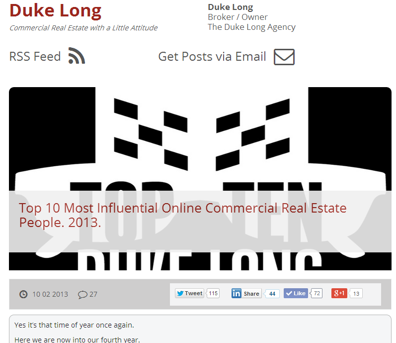 Top 10 Most Influential Online Real Estate People - Duke Long