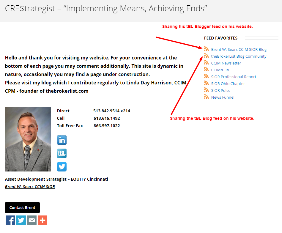 Brent W. Sears, CCIM, SIOR shares tBL RSS Feeds on his website. Thanks Brent!