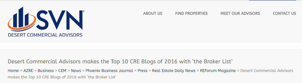 Desert Commercial Advisors makes the Top 10 CRE Blogs of 2016 with 'the Broker List' SVN Partners