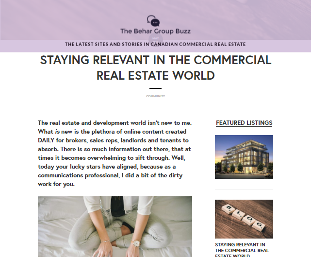 STAYING RELEVANT IN THE COMMERCIAL REAL ESTATE WORLD — The Behar Group Buzz