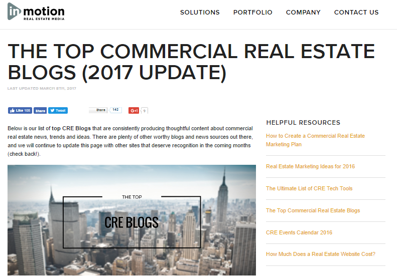THE TOP COMMERCIAL REAL ESTATE BLOGS (2017 UPDATE)