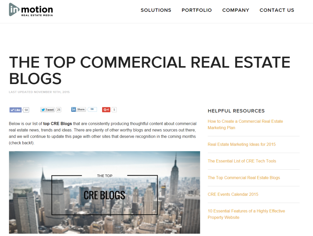 The Top Commercial Real Estate Blogs inMotion Real Estate Media