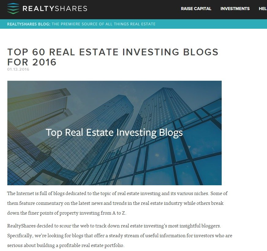Top 60 Real Estate Investing Blogs for 2016