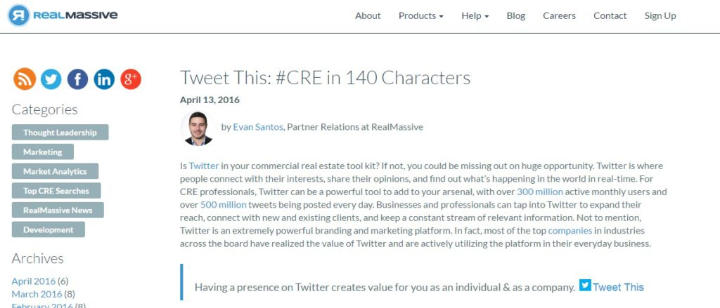Tweet This #CRE in 140 Characters RealMassive