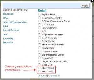 Added Strip Center and Street Retail to Property Retail Category List.