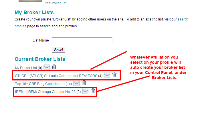 Affiliation lists appear in your Broker List menu for quick use.