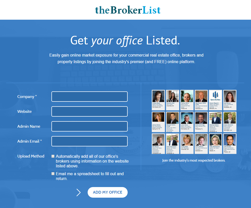 Get your office Listed on theBrokerList