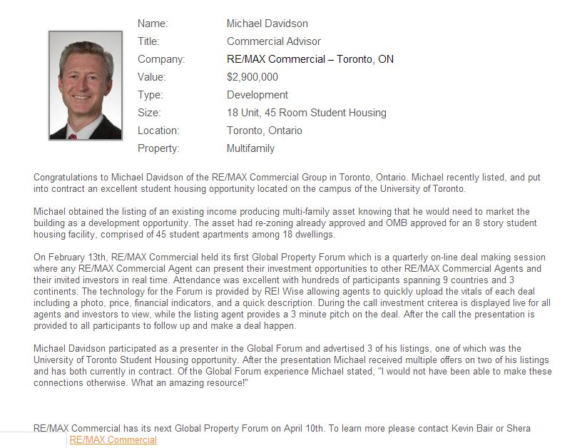 April 2013 Deal of the Month Michael Davidson