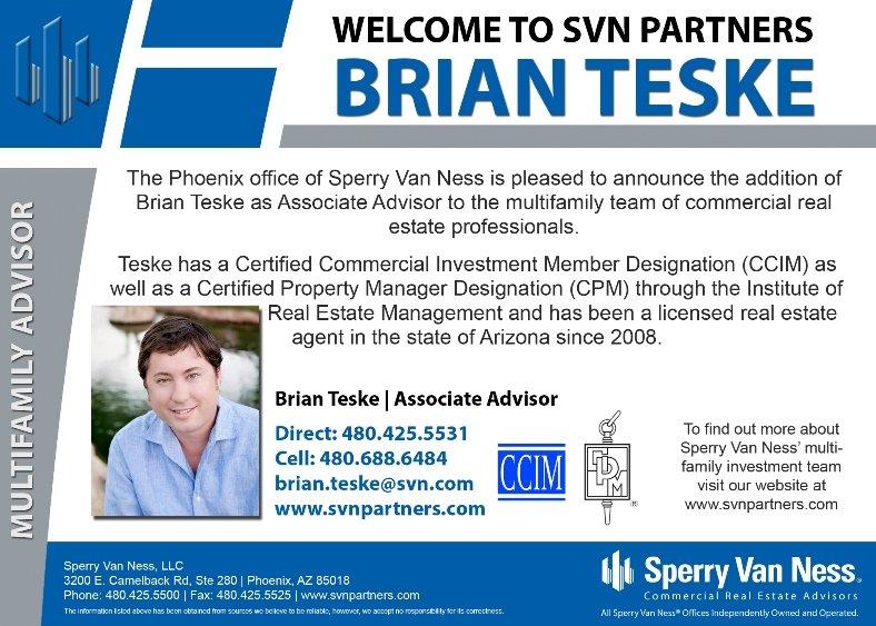 SVN Partners Introduces Brian Teske, Associate Advisor