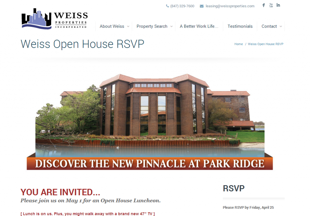 Weiss Open House RSVP   Weiss Properties Inc.   Chicago Commercial Real Estate