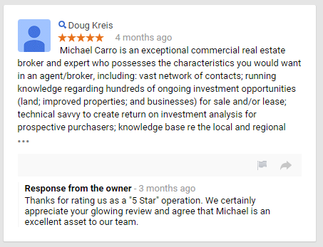 Michael Carro Sperry Van Ness   SouthLand Commercial Real Estate  Google Review