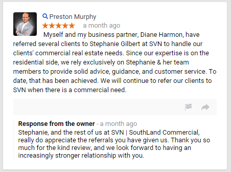 Preston Murphy Sperry Van Ness SouthLand Commercial Real Estate  Google Review