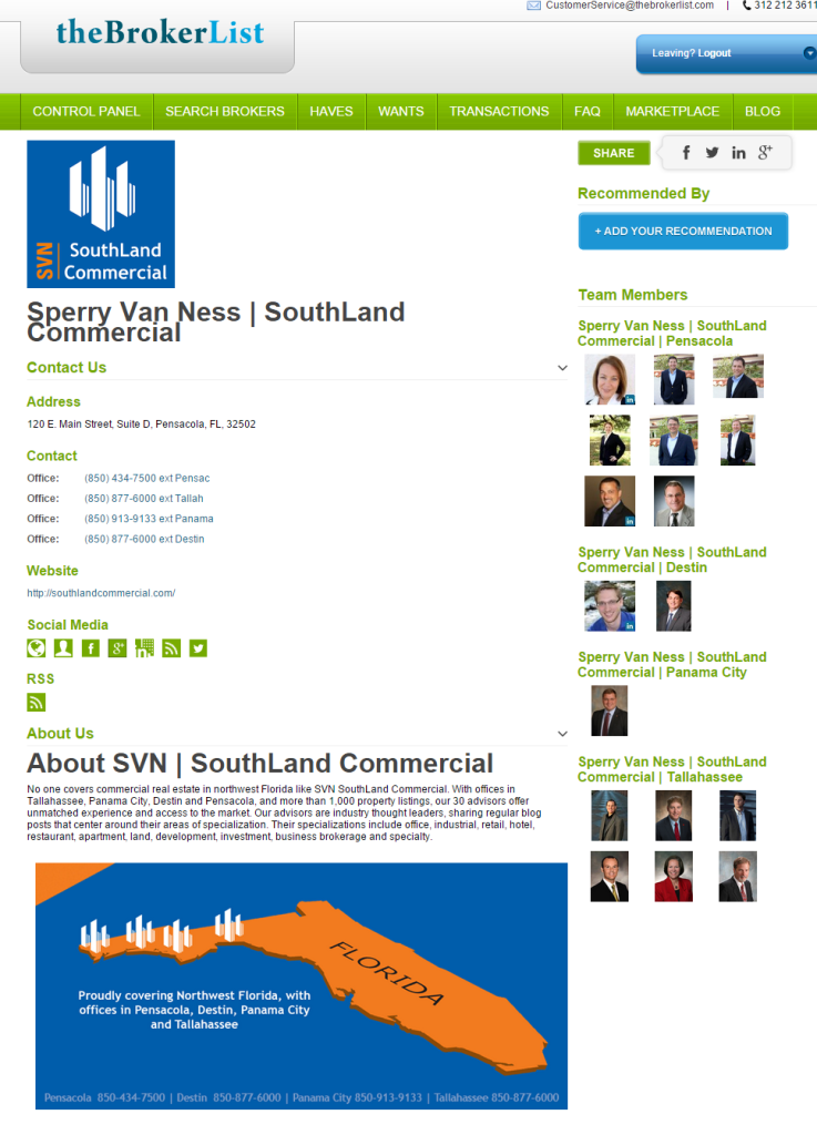 Sperry Van Ness | SouthLand Commercial  Florida
