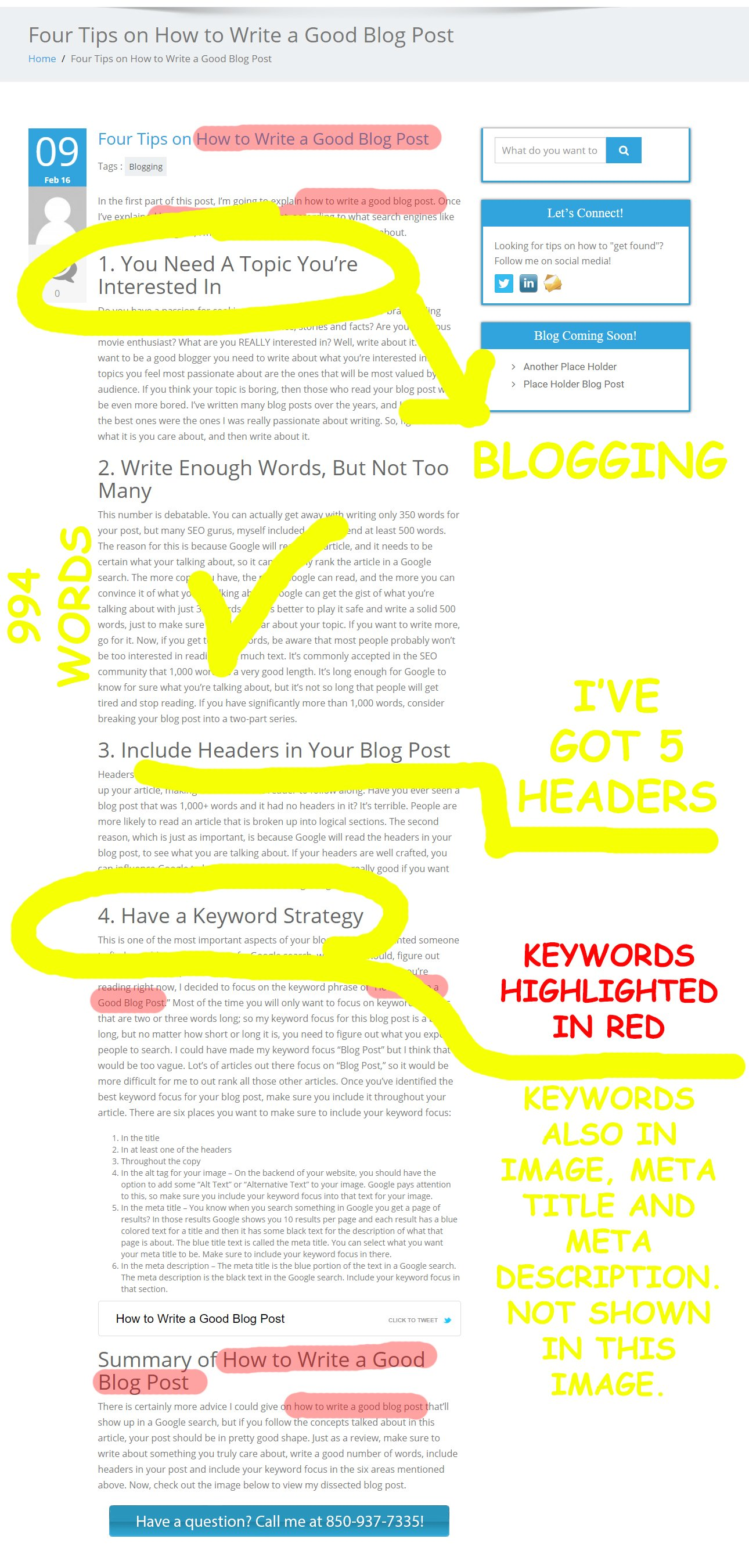 Image showing how to write a good blog post
