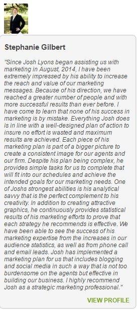 Joshua Lyons Marketing Satisfied Customer Stephanie Gilbert