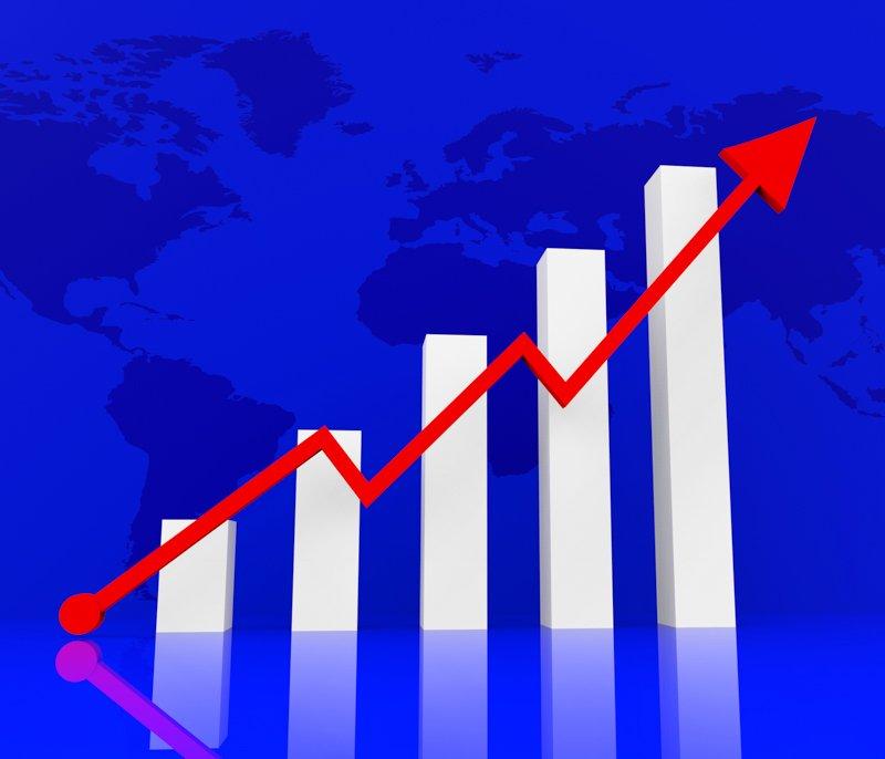 Graph Increasing Indicates Financial Report And Diagram
