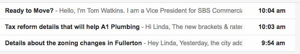 email subject line with valuable content