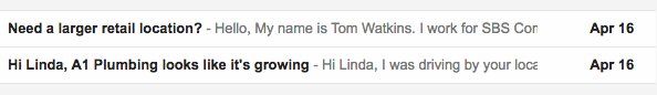 email subject line with a name