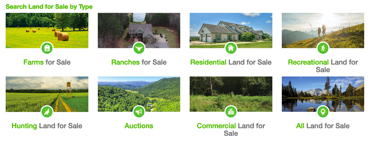 Land and Farm Land for Sale by Type Homepage