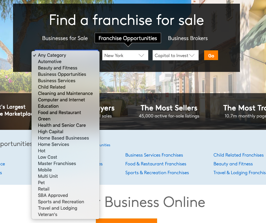 BizBuySell Franchise for Sale Opportunities