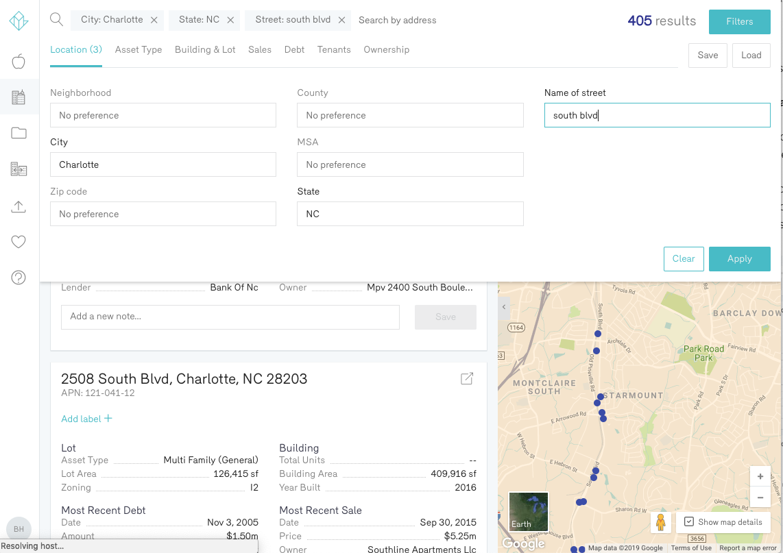 Reonomy Property Owner Search Charlotte North Carolina South Blvd