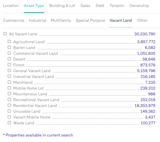 Reonomy Find Owners by Land Asset Type