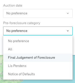 Reonomy Search Pre Foreclosures by Pre Foreclosure Category