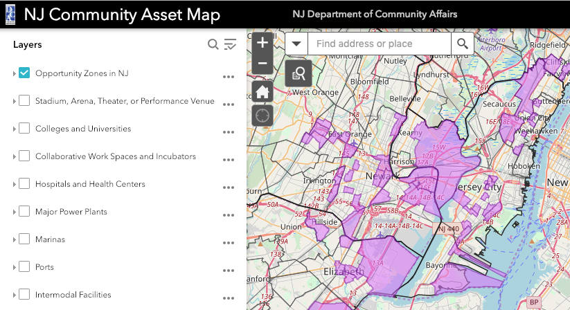 NJ Community Asset Map Opportunity Zone Search