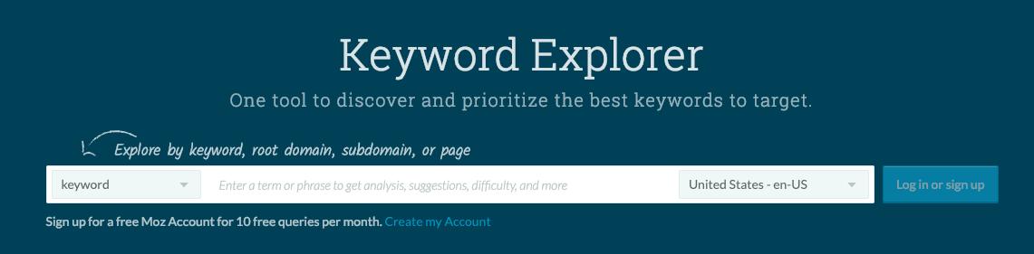 Moz Keyword Explorer Tool