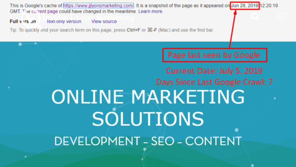 SEO Company website being cached by Google